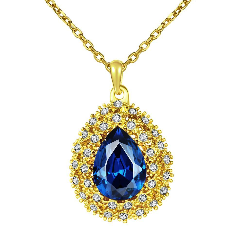 Vienna Jewelry Gold Plated Mock Sapphire Blossoming Emblem Necklace