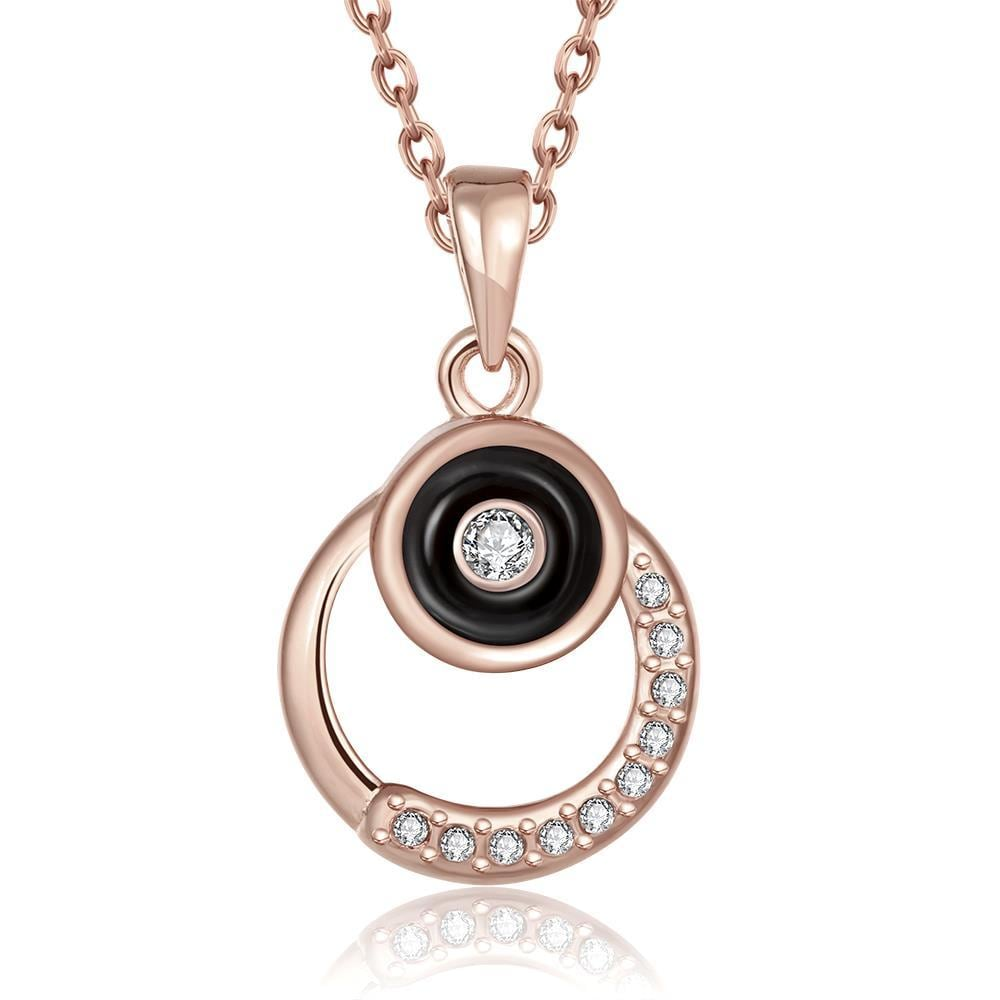 Vienna Jewelry Rose Gold Plated Crystal Lining Onyx Drop Necklace
