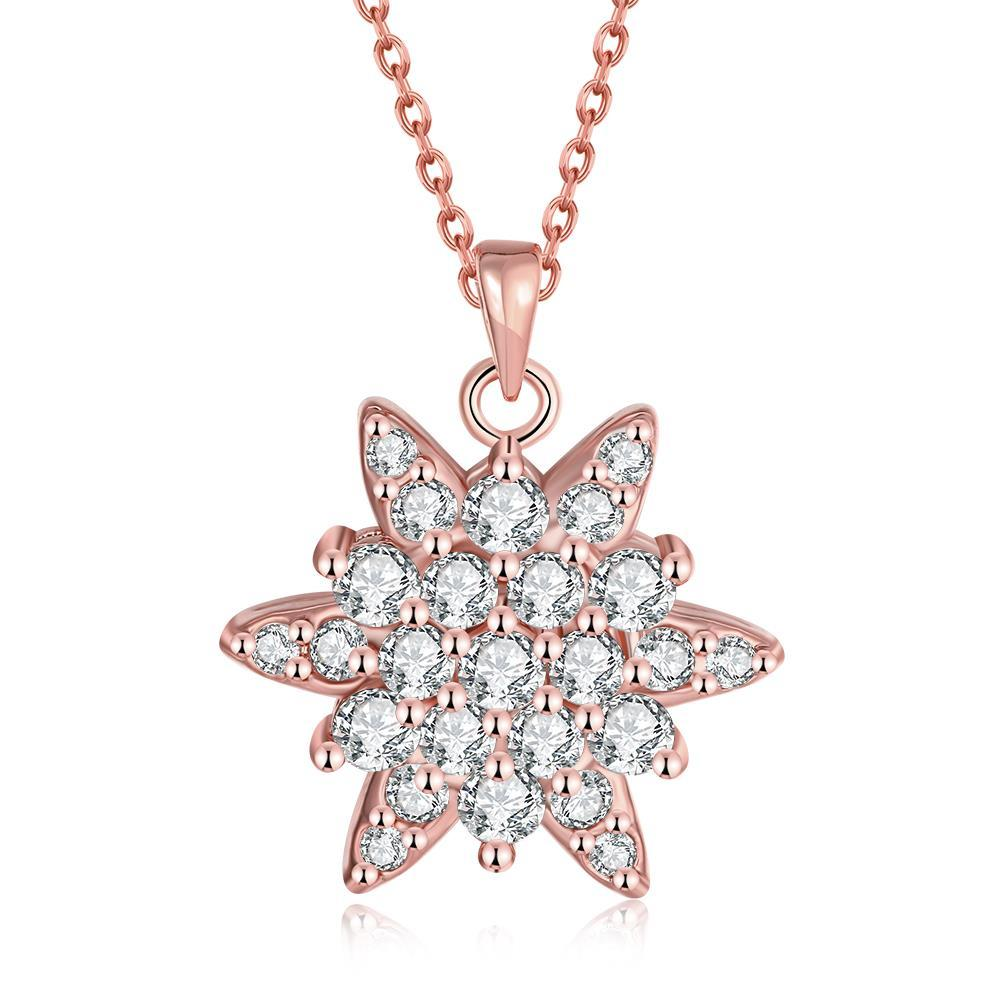 Vienna Jewelry Rose Gold Plated Crystal Filled Snowflake Necklace