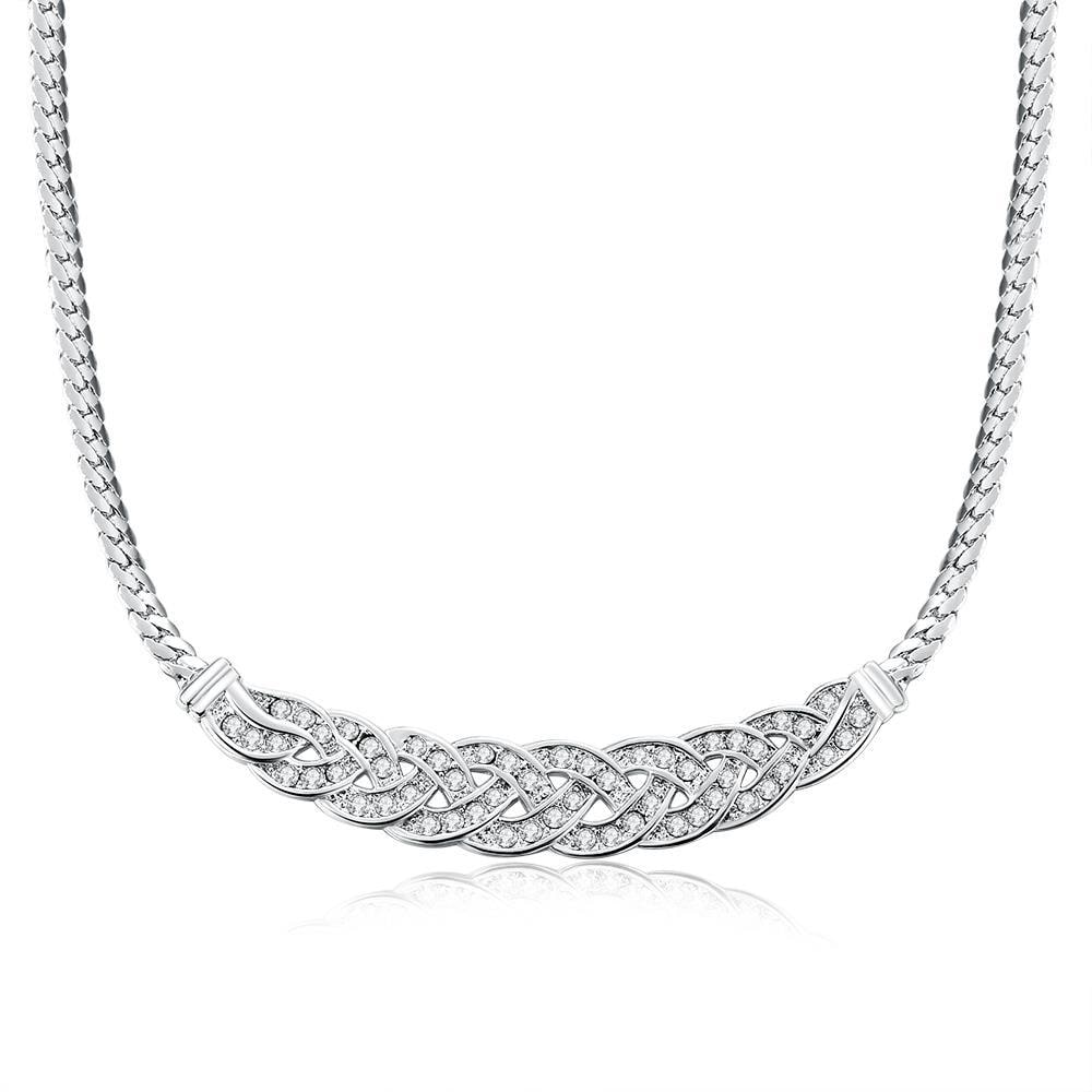 Vienna Jewelry 18K White Gold Plated Chained Loop Necklace