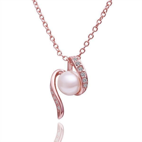 Vienna Jewelry Rose Gold Plated Spiral Pearl Necklace