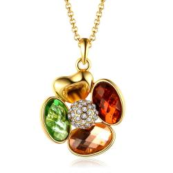 Vienna Jewelry Gold Plated Rainbow Jewels Clover Necklace - Thumbnail 0