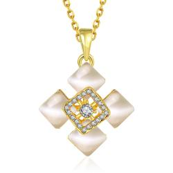 Vienna Jewelry Gold Plated Quad Diamond Ivory Necklace - Thumbnail 0