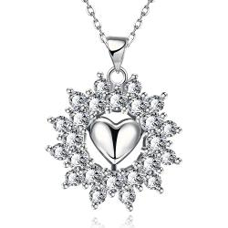 Vienna Jewelry White Gold Plated Petite Heart Snowflake Necklace - Thumbnail 0