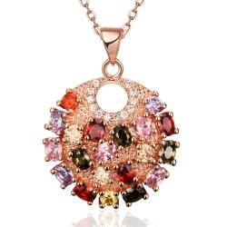 Vienna Jewelry Rose Gold Plated Fully Loaded Rainbow Crystal Necklace - Thumbnail 0