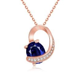 Vienna Jewelry Rose Gold Plated Saphire Insert Necklace - Thumbnail 0