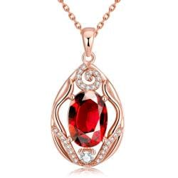 Vienna Jewelry Rose Gold Plated Classic London Ruby Necklace - Thumbnail 0