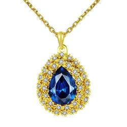 Vienna Jewelry Gold Plated Mock Sapphire Blossoming Emblem Necklace - Thumbnail 0