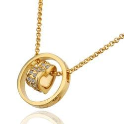 Vienna Jewelry Gold Plated Rolling Heart Shaped Necklace - Thumbnail 0