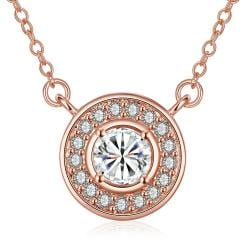 Vienna Jewelry Rose Gold Plated Circular Crystal * Pendant Necklace - Thumbnail 0