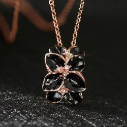 Vienna Jewelry Rose Gold Plated Onyx Orchid Floral Necklace - Thumbnail 0