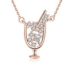 Vienna Jewelry Rose Gold Plated A Glass of Wine Necklace - Thumbnail 0