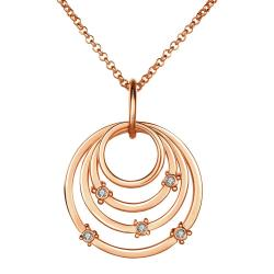 Vienna Jewelry Rose Gold Plated Trio-Sprial Emblem Necklace - Thumbnail 0