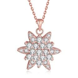Vienna Jewelry Rose Gold Plated Crystal Filled Snowflake Necklace - Thumbnail 0