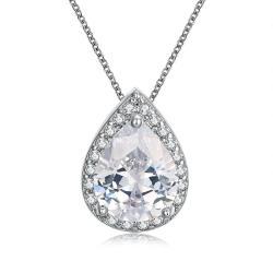 Vienna Jewelry 18K Italian White GP White Topaz Teardrop Necklace - Thumbnail 0