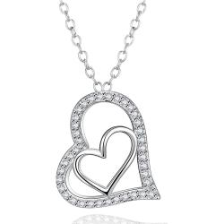 Vienna Jewelry White Gold Plated Love Within Necklace - Thumbnail 0