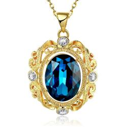 Vienna Jewelry Gold Plated Sapphire Spiral Emblem Drop Necklace - Thumbnail 0
