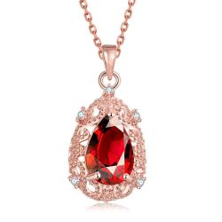 Vienna Jewelry Rose Gold Plated Classic Paris Ruby Necklace - Thumbnail 0