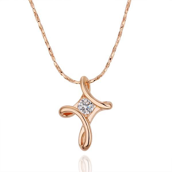 Vienna Jewelry Rose Gold Plated Curved Diamond Shaped Necklace