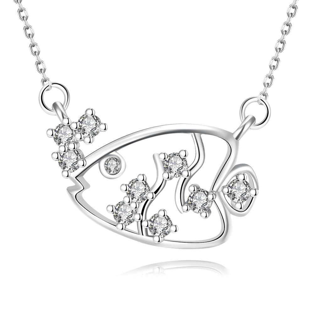 Vienna Jewelry White Gold Plated Swimming Salmon Necklace