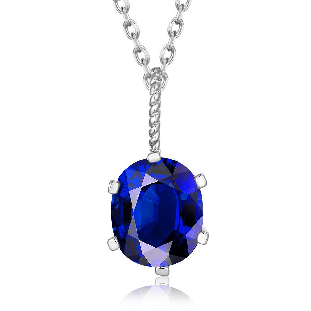 Vienna Jewelry White Gold Plated Sapphire Gem Dangling Necklace