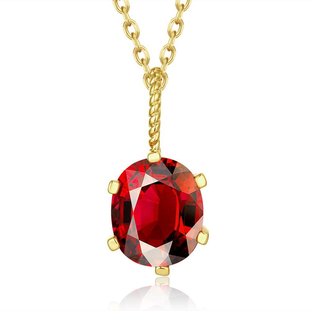Vienna Jewelry Gold Plated Ruby Gem Dangling Necklace