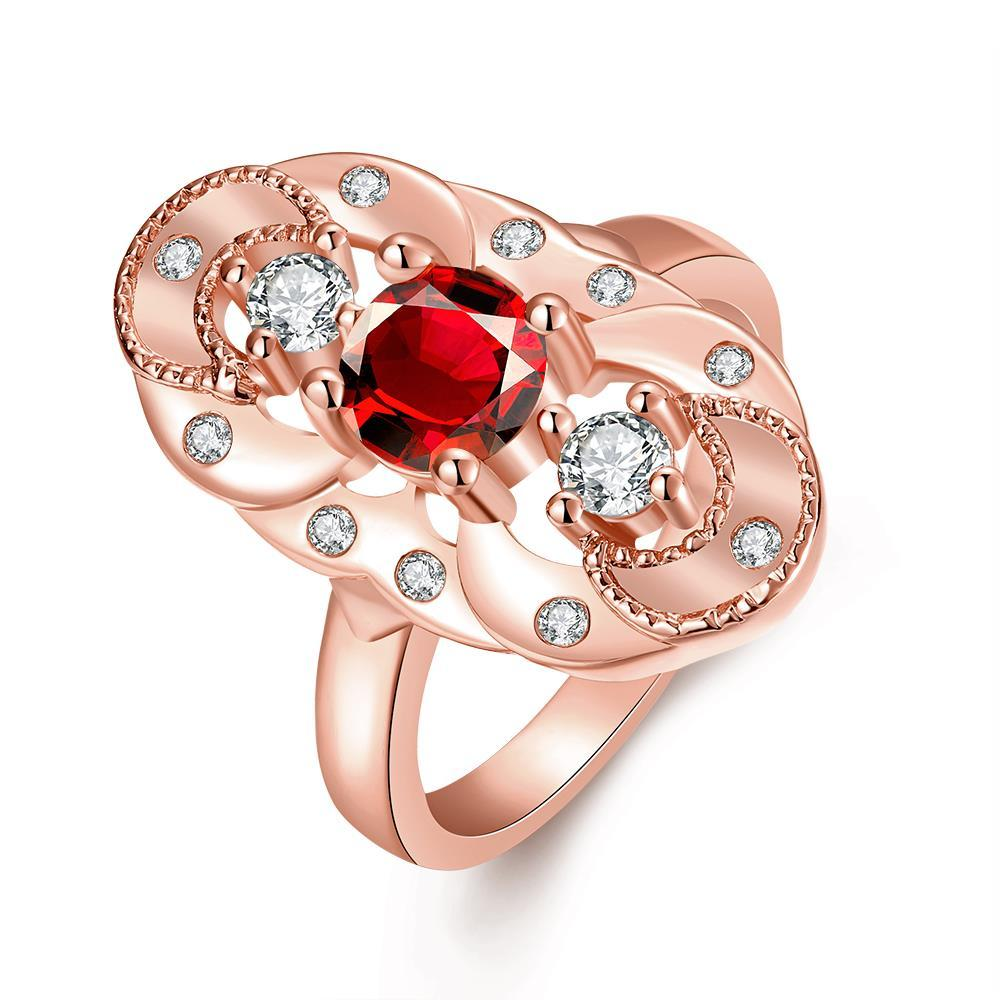 Vienna Jewelry Gold Plated Mirror on The Wall Ruby Ring