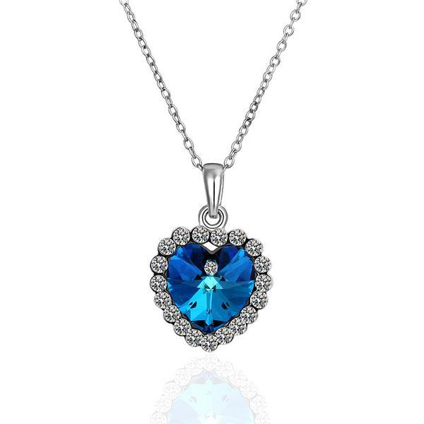 Vienna Jewelry White Gold Plated Saphire Gem with Crystal Necklace