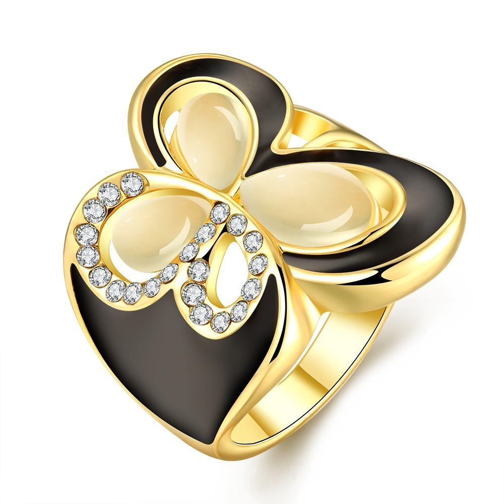 Vienna Jewelry Gold Plated Ivory Onyx Butterfly Ring Size 8