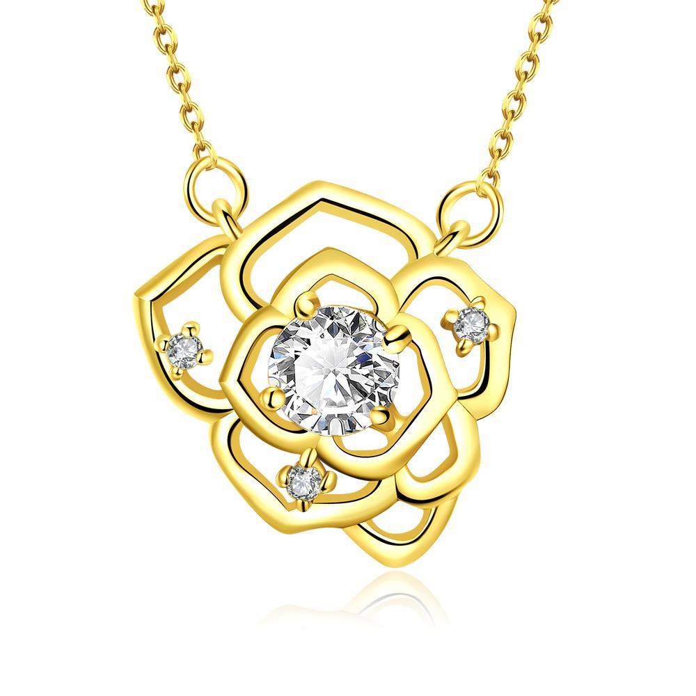 Vienna Jewelry Gold Plated Floral Emblem Covered with Crystal Necklace