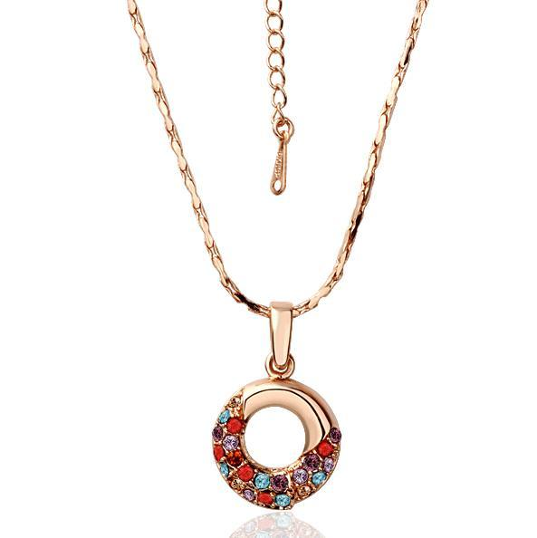 Vienna Jewelry Rose Gold Plated Oval Shaped Rainbow Jewels Covering Necklace
