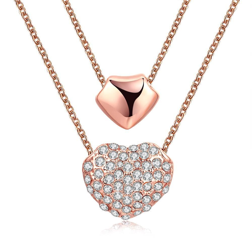 Vienna Jewelry 18K Rose Gold Plated Double Heart Necklace