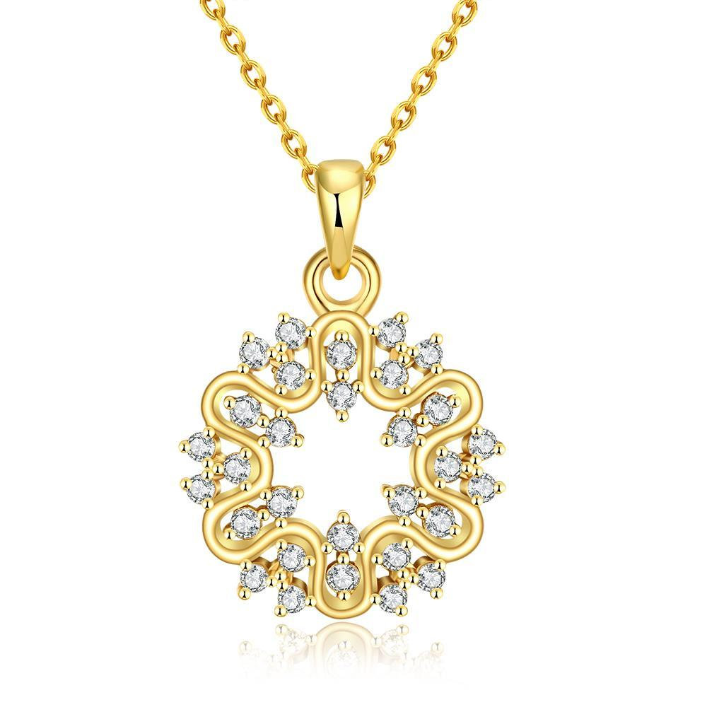Vienna Jewelry Gold Plated Circular Emblem Necklace