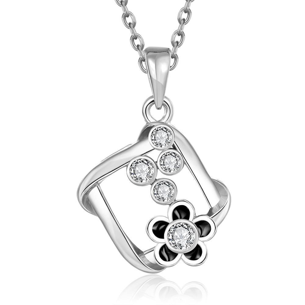 Vienna Jewelry White Gold Plated Spiral Square Emblem Pendant Necklace