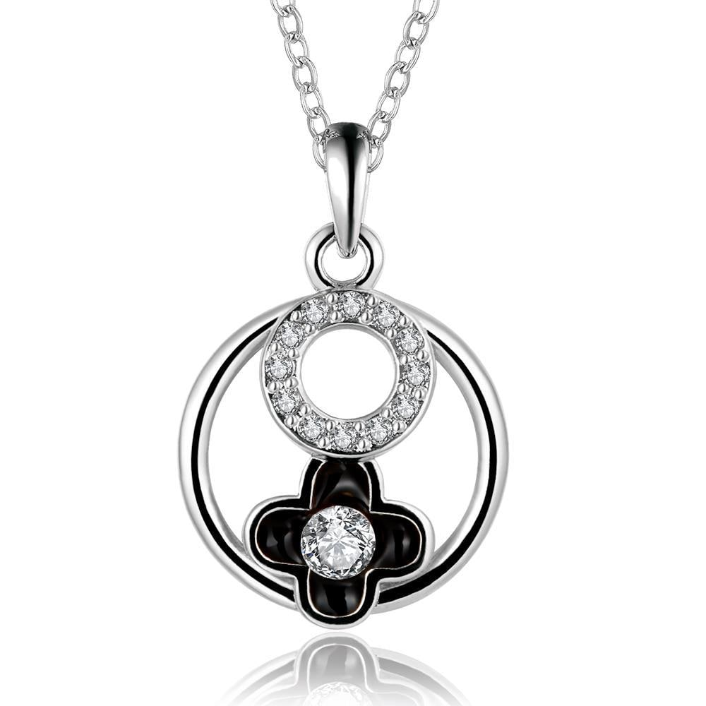 Vienna Jewelry White Gold Plated Floral Circular Pendant Necklace