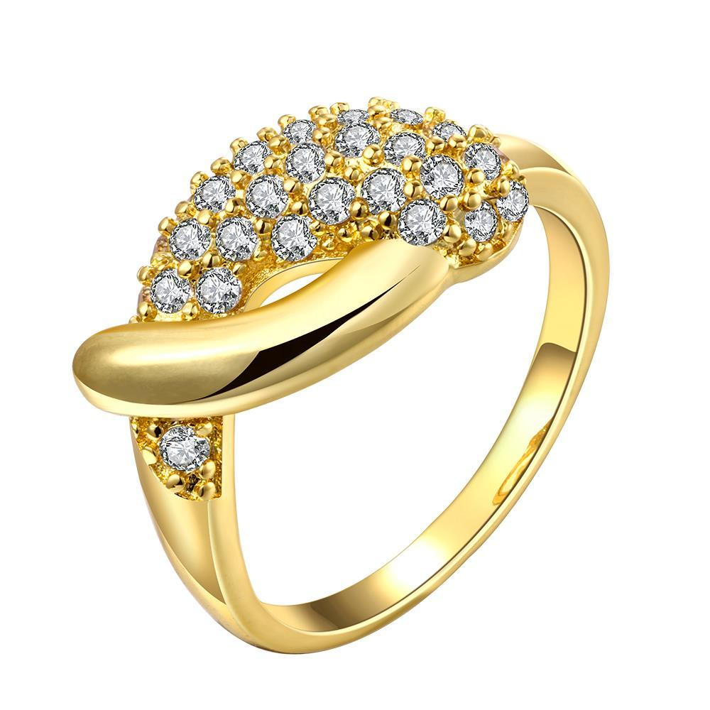 Vienna Jewelry Gold Plated Crystal Accent Bypass Ring