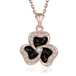 Vienna Jewelry Rose Gold Plated Spiral Clover Pendant Necklace - Thumbnail 0