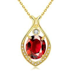 Vienna Jewelry Gold Plated Classic New York Ruby Necklace - Thumbnail 0