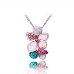 Vienna Jewelry Rose Gold Plated Rainbow Jewels Orchid Necklace