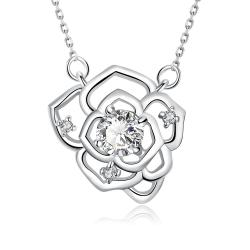 Vienna Jewelry White Gold Plated Floral Emblem Covered with Crystal Necklace - Thumbnail 0