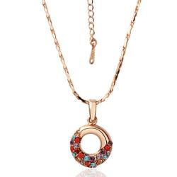 Vienna Jewelry Rose Gold Plated Oval Shaped Rainbow Jewels Covering Necklace - Thumbnail 0