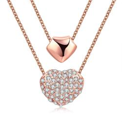 Vienna Jewelry 18K Rose Gold Plated Double Heart Necklace - Thumbnail 0