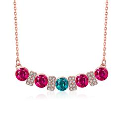 Vienna Jewelry 18K Rose Gold Plated Multi-Gem Bar Necklace - Thumbnail 0