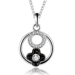 Vienna Jewelry White Gold Plated Floral Circular Pendant Necklace - Thumbnail 0