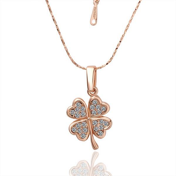 Vienna Jewelry Gold Plated Petite Clover Necklace with Crystal Inlay