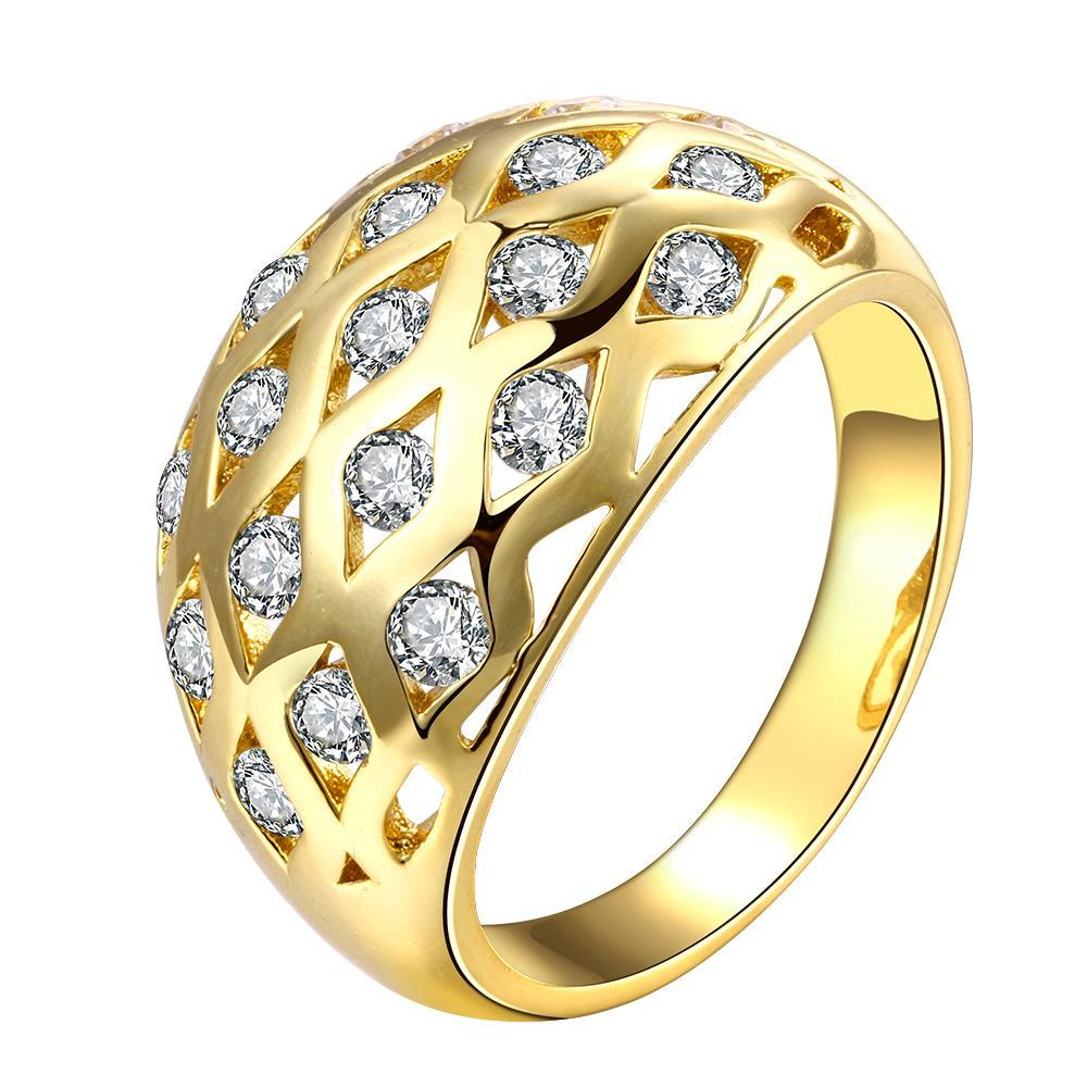 Vienna Jewelry Gold Plated Cluster Linear Orbit Ring