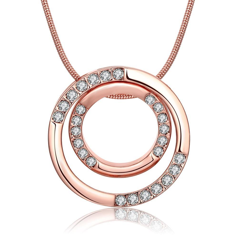 Vienna Jewelry 18K Rose Gold Plated Geometric Necklace