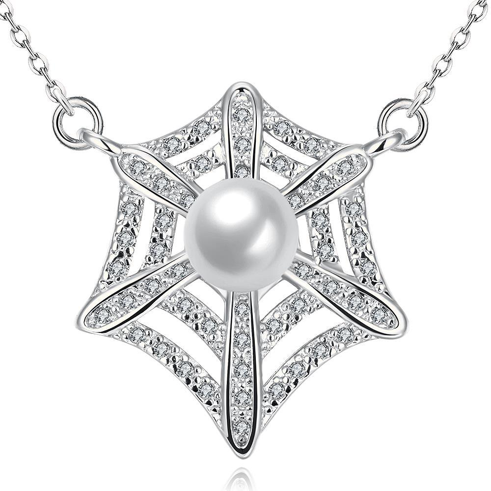 Vienna Jewelry White Gold Plated Spiderweb Inspired Necklace