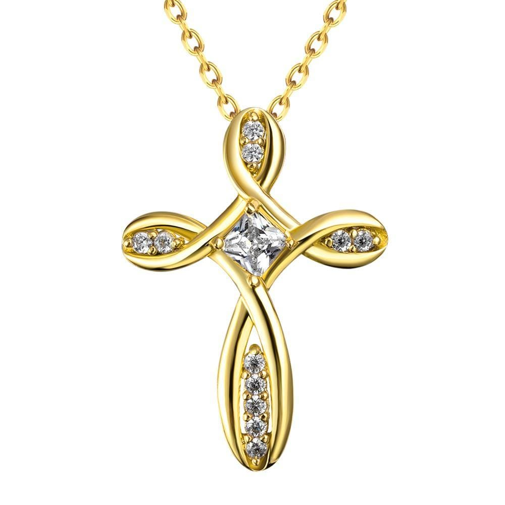 Vienna Jewelry Gold Plated Curved Angular Cross Necklace