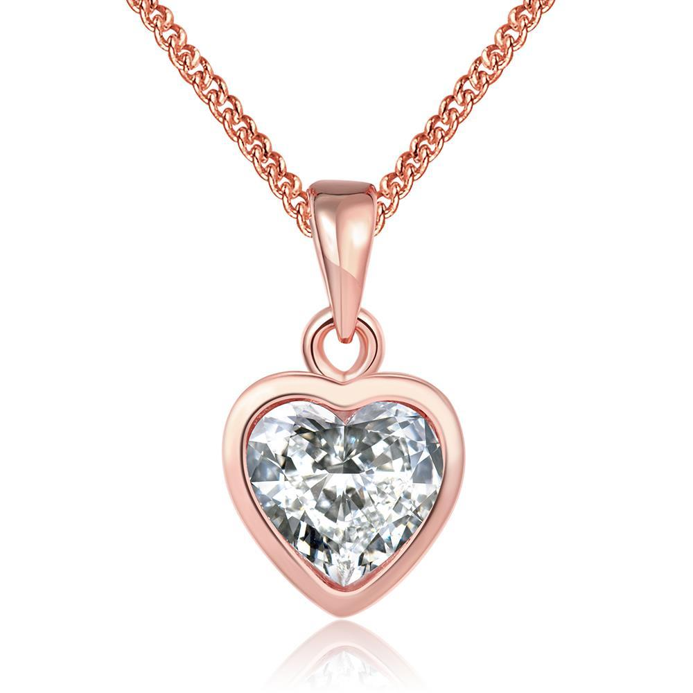 Vienna Jewelry 18K Rose Gold Plated Pure White HeartNecklace